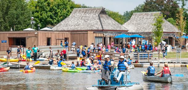 Gallup Park offers boat rentals, a coffee shop, playgrounds and trails.