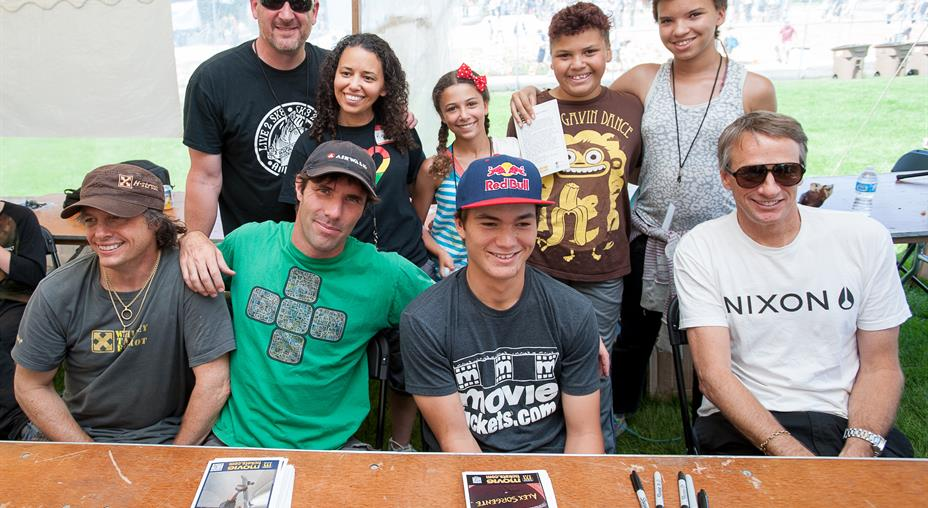 Andy Macdonald, Alex Sorgente and Tony Hawk at the skatepark grand opening.